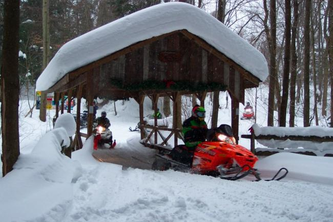 Friendly Snowmobile Ride